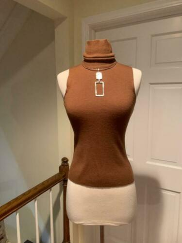 Donna Karan Black Label Brown Wool Sleeveless Turt