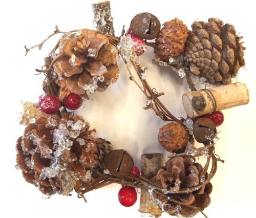 Decorative Candle Ring With Pine Cones Frosted Brown Red 4.5 inches By Darice