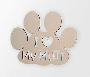 Wooden shape I love my mut, Wooden Cut Out, Wall Art, Home Decor, Wall Hanging