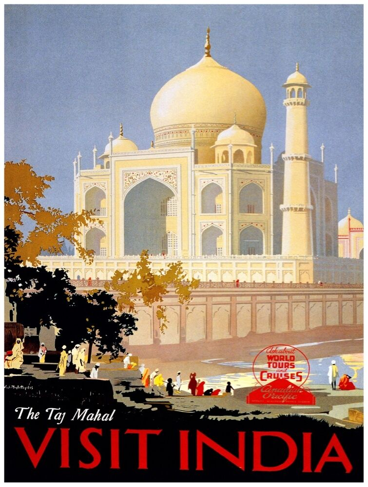 7915.The taj Majal.Visit india.people in front of structurePOSTER.art wall decor