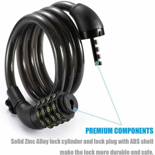 Titanker Bike Lock Cable 4 Feet Bike Cable Basic Self Coiling Resettable Combo