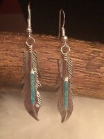 Navajo Native American Sterling Silver Turquoise Feather Earrings