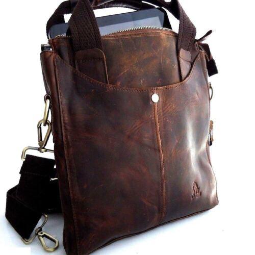 Genuine full Leather Bag Messenger vintage classic Shoulder cool Style new brown