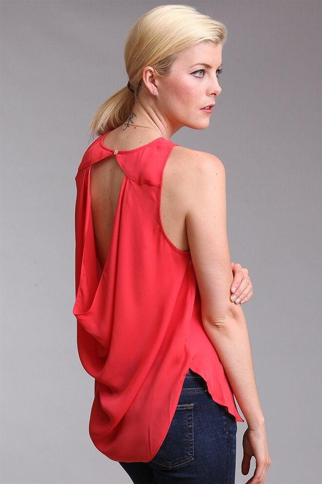 Haute Hippie Coral Cowl Open Back Silk Blouse Top Shirt Tank  Größe L Large