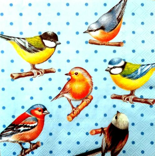 4 Single Lunch Paper Napkins for Decoupage Party Craft Vintage Blue Mix Birds