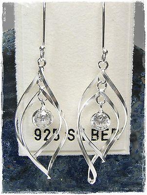 Neu 925 Silber OhrhÄnger 5mm Zirkonia Steine Kristallklar/klar Ohrringe Silber Auswahlmaterialien Brautschmuck