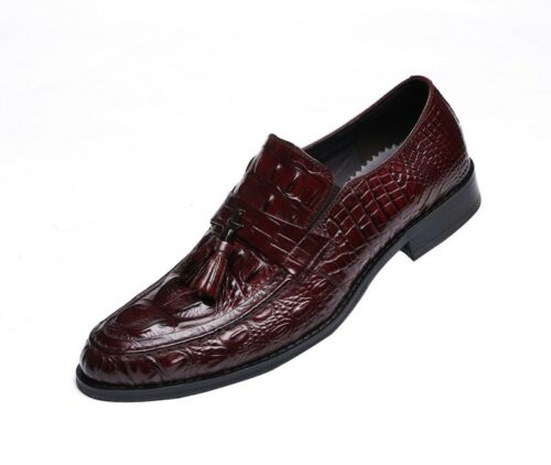 New Genuine Leather Men/'s Casual Formal Shoes Loafers Crocodile Embossed OM6631