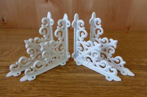 "4 WHITE ANTIQUE-STYLE 5.5/"" SHELF BRACKETS CAST IRON garden rustic fleur ARROW"