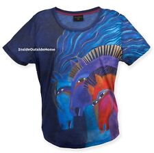 Laurel Burch Wild Horses of Fire T Shirt Short Sleeve Polyester LARGE New 2017