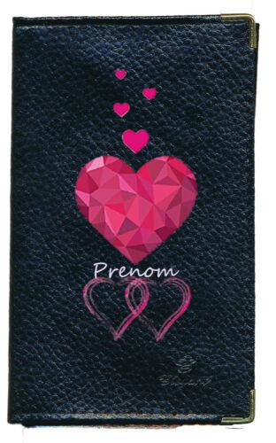 Porte Chequier Porte carte grise porte monnaie Coeur rose Saint Valentin nom