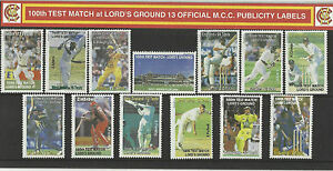 ENGLAND-MCC-100th-LORDS-TEST-MATCH-CRICKET-PUBLICITY-LABELS-STAMP-PACK-Set-of-13