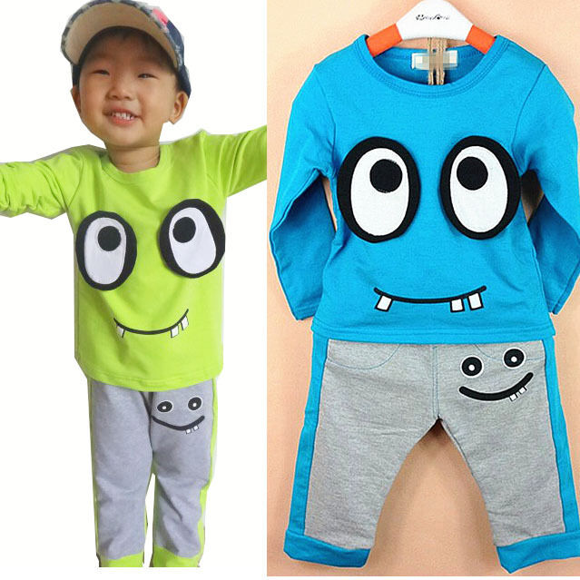 Smile Eyes Kids Boys Long Sleeve T-shirt Coat Pants Sets Cotton Outfits For 1-7Y