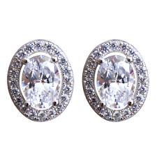 Diamond-unique Redonda Halo sólido plata rodio platino Aretes 50807