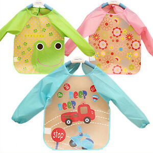 CUTE-BABY-TODDLER-CHILDREN-WATERPROOF-LONG-SLEEVE-BIB-ART-APRON-SMOCK-FIRST-RATE