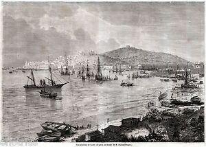 Gaeta-Panorama-Grande-Veduta-Terra-di-Lavoro-Stampa-Antica-Passepartout-1860