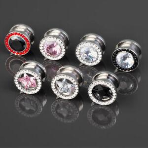 Screw Flesh Ear Tunnel Plug Piercing Plastic with Clear Zirconia Crystals
