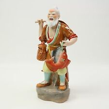 "15"" Vtg Porcelain Old Man Fisherman Fish Basket Bamboo Chinese Figurine Statue"
