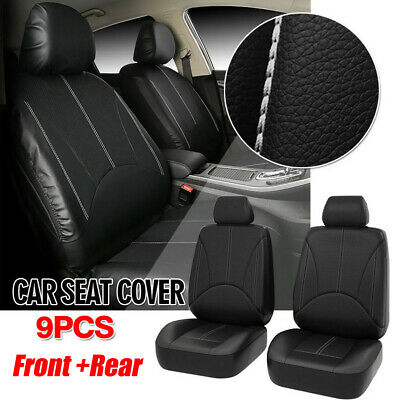 Black Leatherette Car Seat Covers Front 2 Seat Universal Synthetic Leather