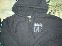 Hollister Broad Beach Jersey Lite Sweatshirt Hoodie Lace Arms Blue Indigo L