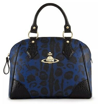 New VIVIENNE WESTWOOD Hand Bag Jungle Leopard Satchel Made: ITALY FREE SHIPPING