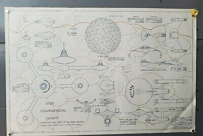 "Classic Star Trek Ship Size Comparison Chart Blueprint 24/"" x 36/""-Folded-FREE S/&H"