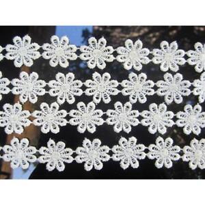 2-METER-Weiss-GPO-Spitze-2-5cm-breit-Hochwertig-Borte-Gpo-004-Nichtelastisch