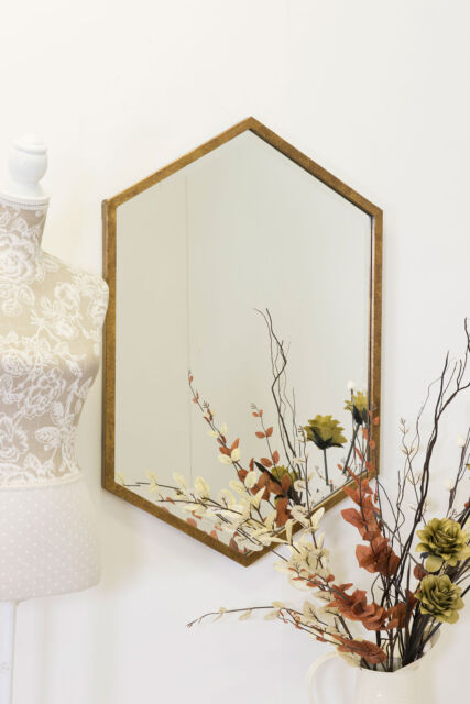 Large Gold  Hexagonal Bevelled Wall Mirror 3ft x 2ft