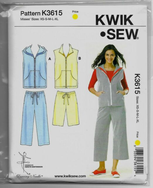 K3615 Kwik Sew Pants, Shorts, & Vests SEWING PATTERN Sizes XS-XL