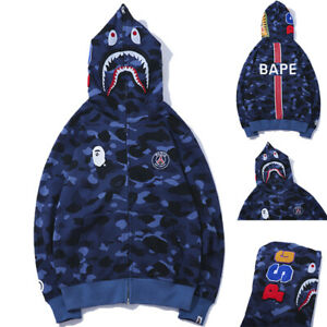 Bape-A-Bathing-Ape-Shark-Head-Blue-Camo-Hoodie-Hooded-Jacket-Full-Zipper-Coat