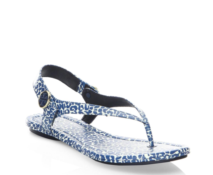 New in Box Tory Burch Minnie Travel String Sandale Tory Navy panthère longibande Taille 7