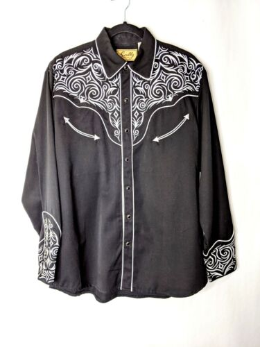 Scully Men Embroidered Black Western Cowboy Rodeo