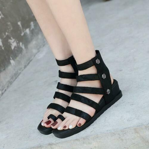 Details about  /Rivet Mid Heels Bandage Roman Summer Sandals Open Toe Zip Womens Shoes Punk 2020