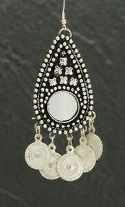 SILVER-TONE-MIRROR-amp-COIN-EARRINGS-BELLY-DANCE-INDIA-TRIBAL-CHANDELIER