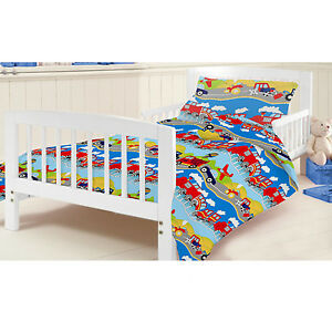 Image Is Loading Cotbed Junior Duvet Cover Set Transport Vehicles Boys