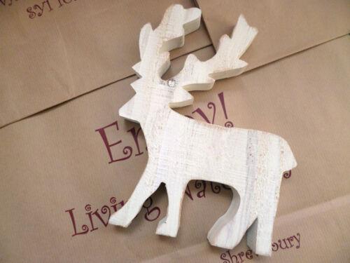 La India Shop en bois blanc Noël Cerf PIN Commerce équitable Debout Maison Cadeau