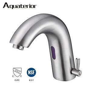 Bathroom Sensor Motion Faucet Touchless Faucet 1 Hole Vessel Sink Brushed