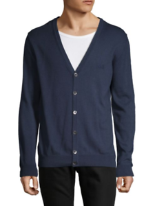 Boss Hugo Boss Men s Bairre V-Neck Cotton Wool Navy Blue Cardigan ... e3891608b0d