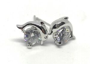925 Sterling Silver PL Dolphin,Guitar,Lock,High-heeled Shoes,Hand Stud Earrings