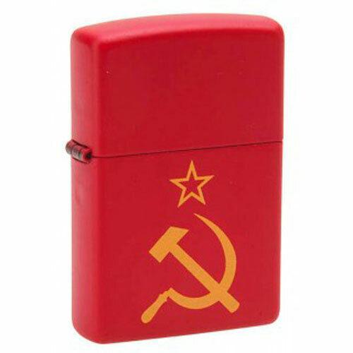 Zippo lighter Red Matte Hammer and sickle 233 Серп и Молот