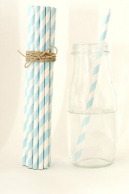 25x blue striped drinking straws wedding birthday baby shower party decoration