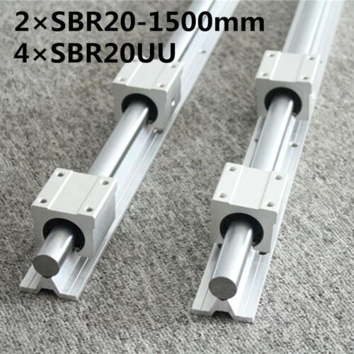 2Pcs SBR20-1200mm Linearführung Linear 4Pcs SBR20UU Linearblock CNC