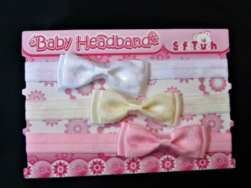 BABY GIRL 3 PACK HEADBANDS IN PASTEL COLOURS VARIIOUS DESIGNS
