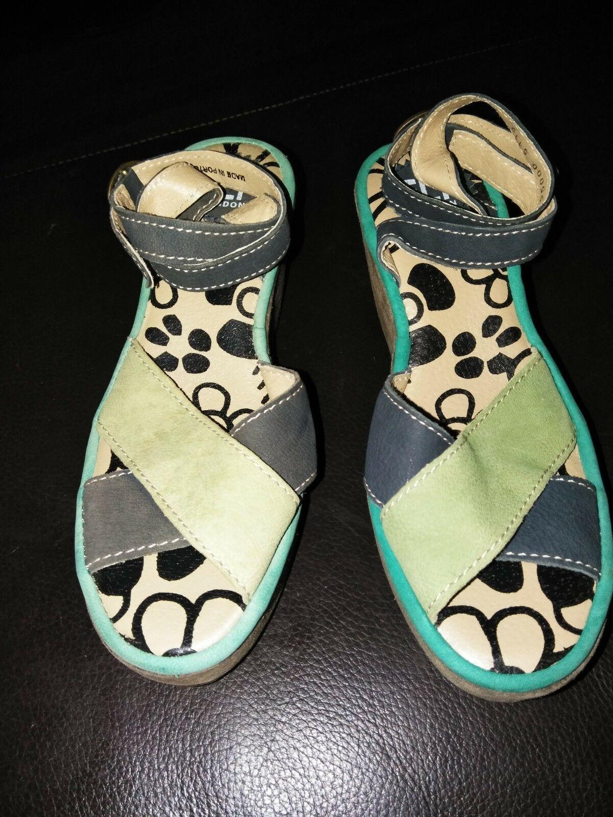 Fly London Pati Leder Ankle Strap Wedge Sandales Navy Blau/Green 6- 6.6 EU 37
