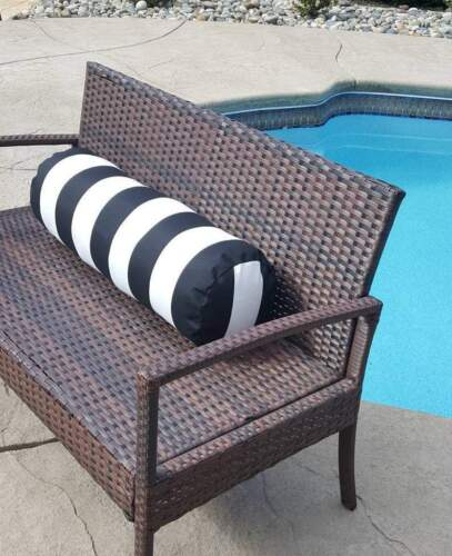 Indoor Outdoor Bolster Pillow Cover Vertical Stripe Black and White with Zipper