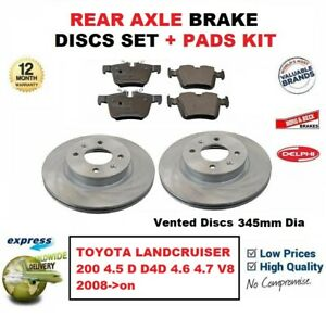 FOR TOYOTA LANDCRUISER 4.5 TD D4D VDJ200 2008-/> REAR BRAKE DISC SET PADS KIT