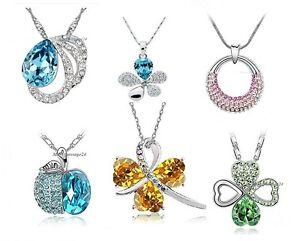 Halskette-Anhaenger-Kristall-Liebe-Blume-Apfel-Glueck-Tropfen-Geschenk-Damen-Kette