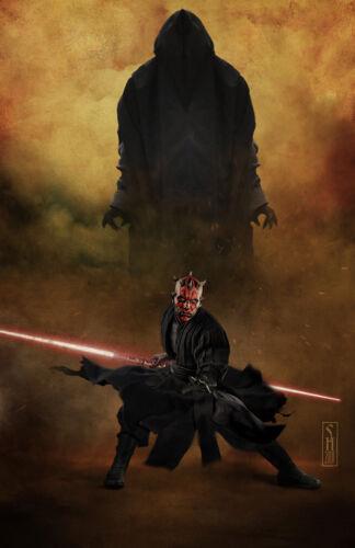 Star Wars Darth Maul Original Art Print signed by Scott Harben dark presence