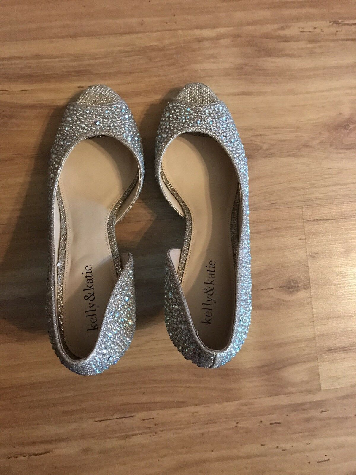 Kelly & Katie Gold High Heel Pumps sparkle Bling size 8.5 Peep Toe shoes