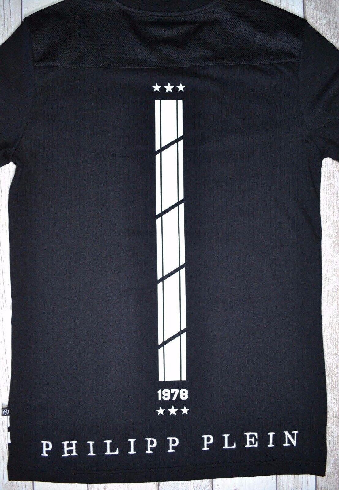 BNWT PHILIPP PLEIN  ENKO    T-SHIRT schwarz & Weiß 78 SKULL CAMISETA MAGLIETTA RARE 7af065