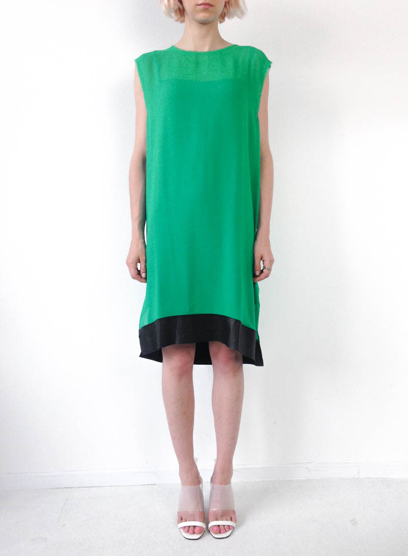 HOF115  & Other Stories Kleid seide leder   Dress silk leather green 36
